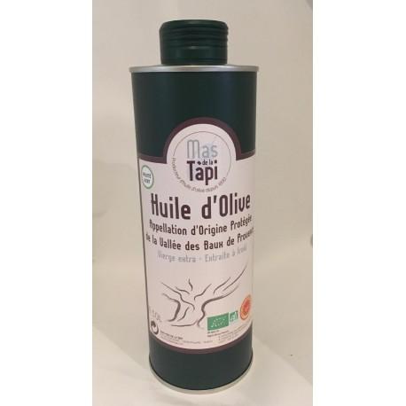 Huile d'olive AOP Vallée des Baux de Provence certifiée Agriculture Biologique par ECOCERT FRANCE FR BIO 01