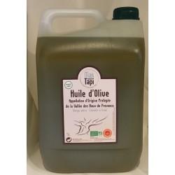 Huile d'olive en bidon de 5 litres certifiée Biologique par ECOCERT FRANCE FR BIO 01 en AOP Vallée des Baux de Provence